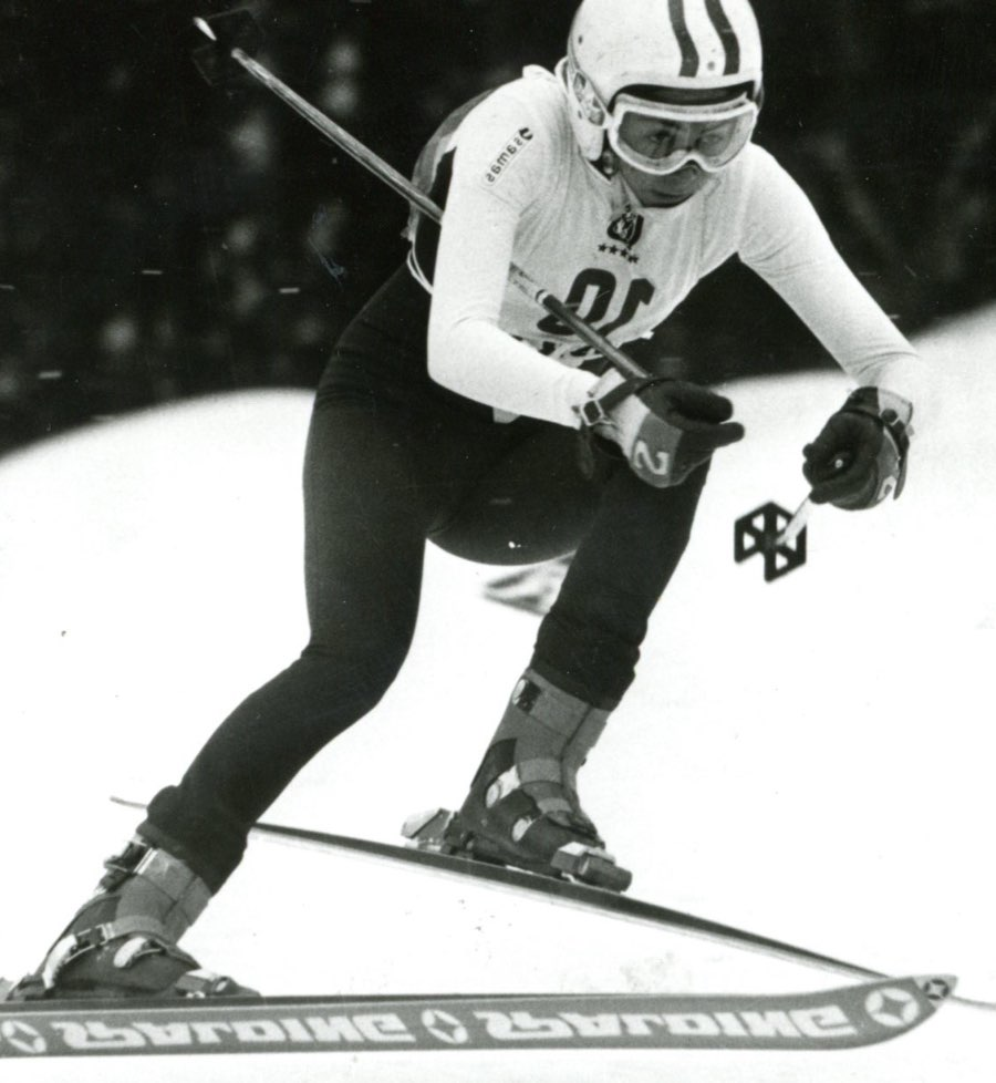 Skier racing down the hill at the 1978 Winter Games in Czechoslovakia