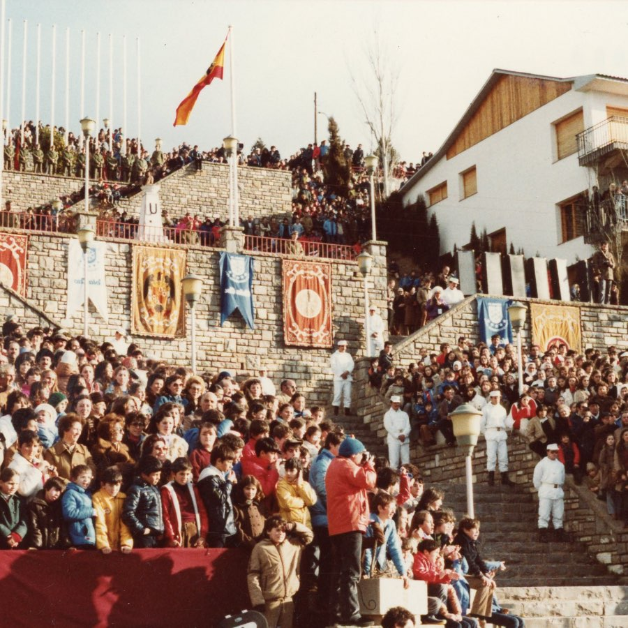 A crowd watches the opening ceremonies at the 1981 Winter World University Games in Jaca, Spain