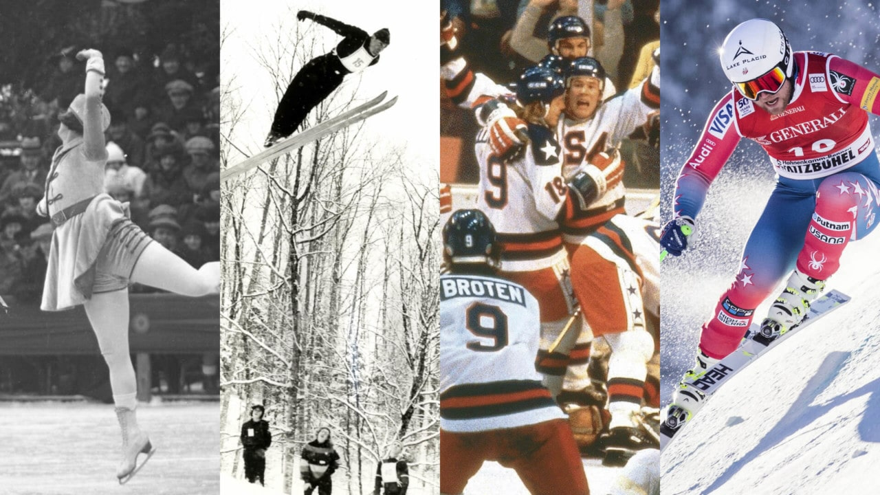 Previous Lake Placid sporting events including figure skating, ski jumping, the Miracle on Ice, and alpine skiing.