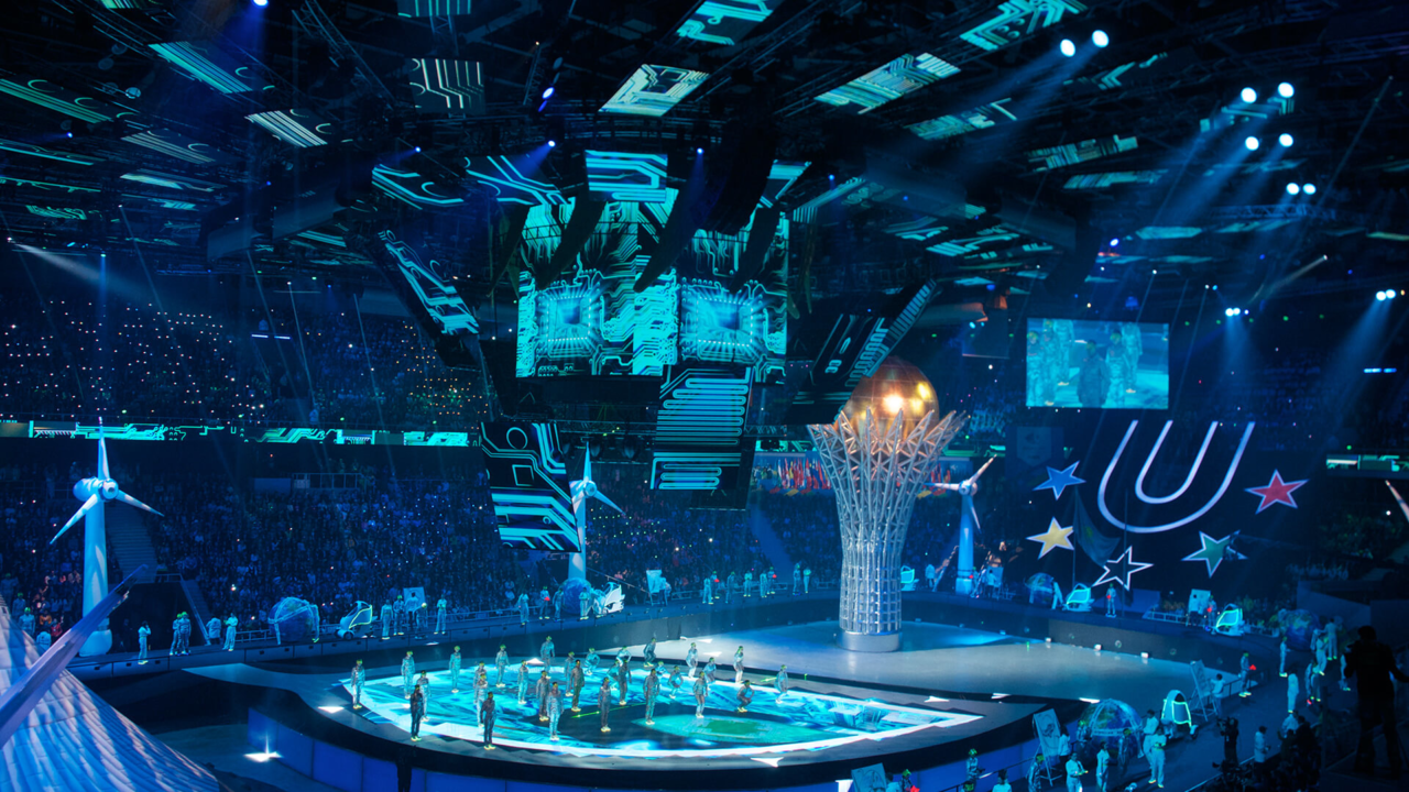 Performers on the floor during the opening ceremonies of a previous Winter Games