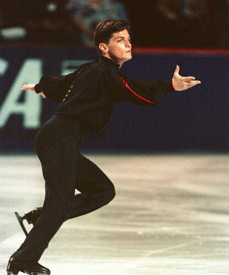 Former University Games athlete and Olympic medal-winning figure skater Paul Wylie performing a routine on the ice