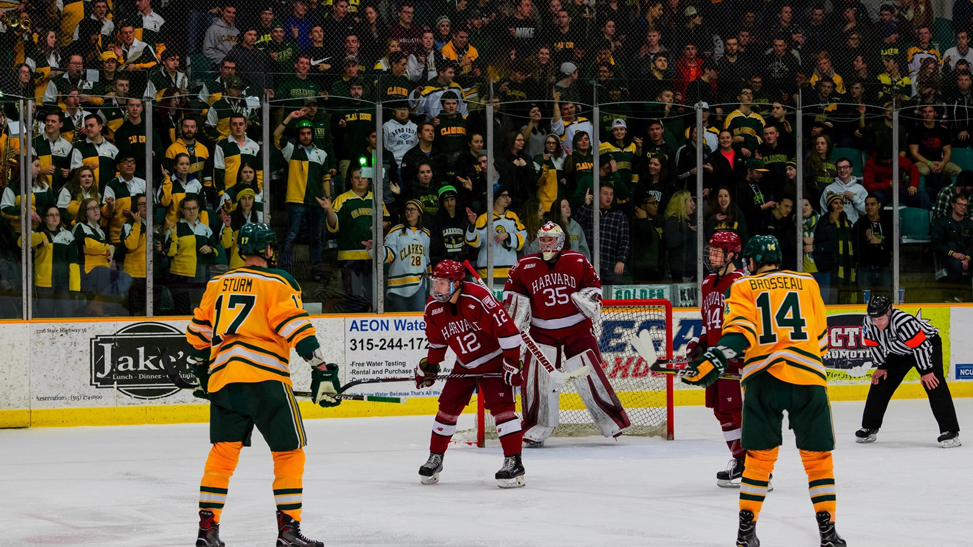 Crowd watching a college hockey game in the Cheel Arena at Clarkson University