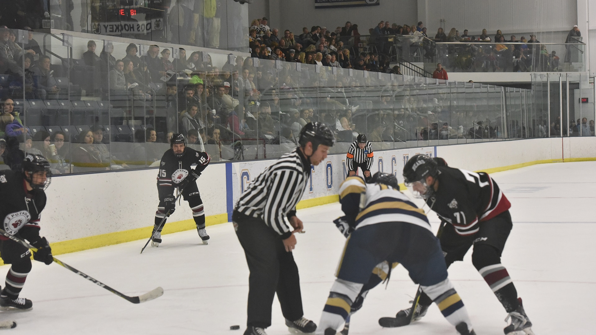 A hockey referee drops the puck during a faceoff at the Roos House arena at the State University of New York at Canton